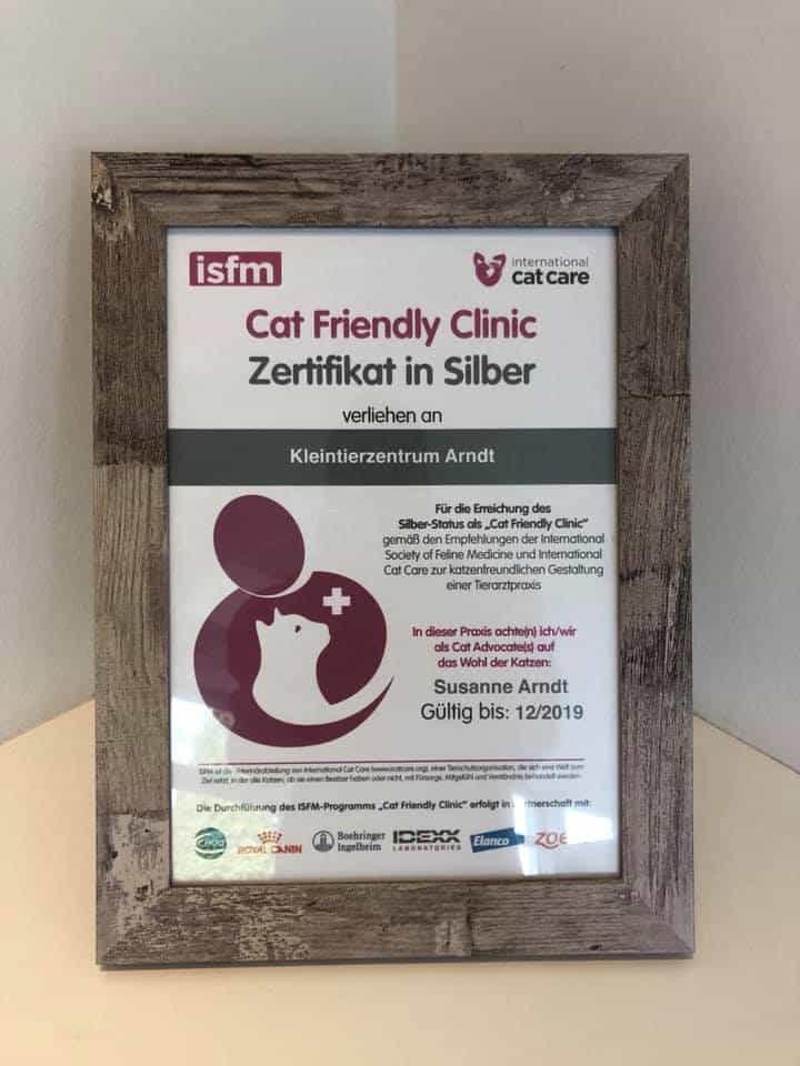 """Kleintierzentrum Arndt auch in 2019 als """"Cat friendly Clinic"""" zertifiziert 1"""